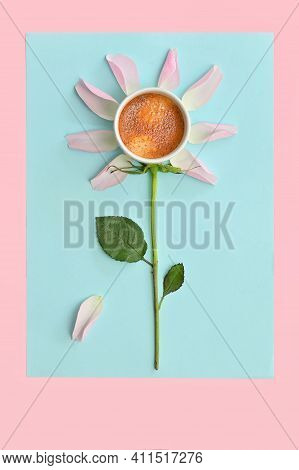 Conceptual Cup Of Espresso And Pink Rose Petals
