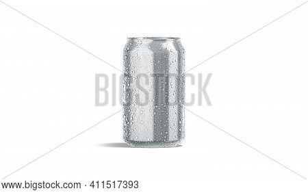 Blank Silver Aluminum 330 Ml Soda Can With Drops Mockup, 3d Rendering. Empty Steel Tin With Dripping