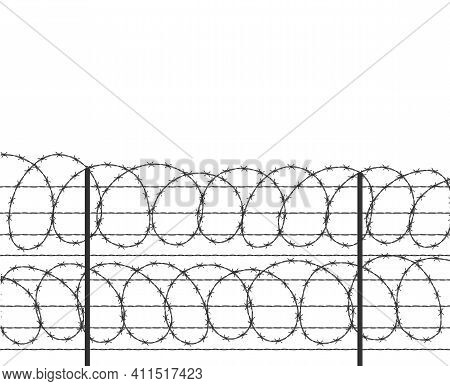 Military Jail Fence. Vector Barbed Spike Wire. Safety Metal Net Barrier. Prison Iron Gate Security F