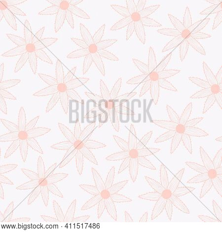 Vector Seamless Pattern With Simple Pink Flowers On White Background. For Decoration, Invitation, Fa