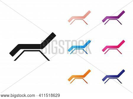 Black Sunbed Icon Isolated On White Background. Sun Lounger. Set Icons Colorful. Vector