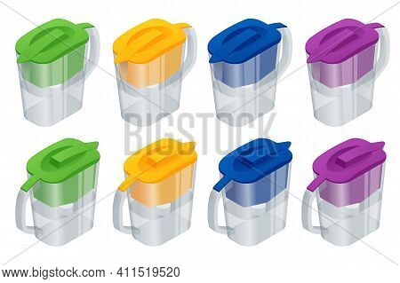 Isometric Blue Water Filter Jug With Cartridge Isolated On White Background. Household Water Filter