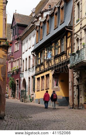 The Small Village Of Riquewihr In Alsace