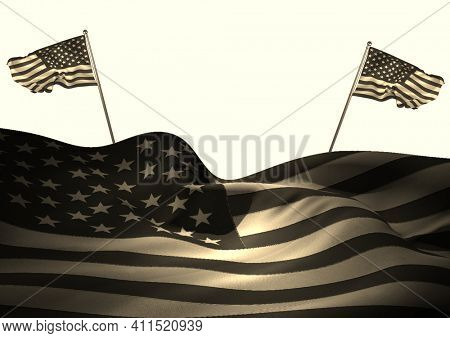 Composition of american flag with two smaller american flags blowing opposite directions behind. american patriotic concept with copy space, digitally generated image
