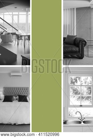 Composition of four black and white images of domestic rooms with vertical band of green between. property presentation design concept with copy space, digitally generated image