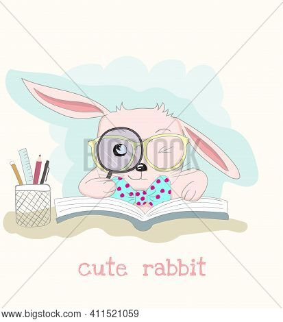 Cute Cartoon Clever Little Rabbit Reading Book. Hand Drawn Style