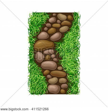 Walkway Of Smooth Cobblestones Rested On Green Lawn Grass As Landscape Design Vector Illustration