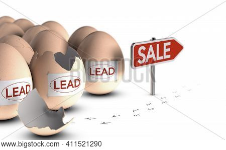 3d Illustration Of Conceptual Eggs, Bird Paw Prints And Red Sign Over White Background. Lead Nurturi