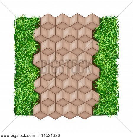 Walkway Or Pavement Of Flagstone As Outdoor Floor Covering And Landscape Design Vector Illustration