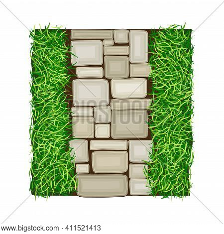 Walkway Of Rectangular Cobblestones Rested On Green Lawn Grass As Landscape Design Vector Illustrati