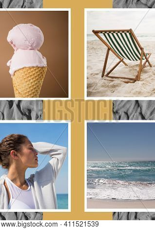 Composition of four beach and seaside images with ice cream deckchair woman in profile and sand. seaside holiday and beach leisure concept, digitally generated image.