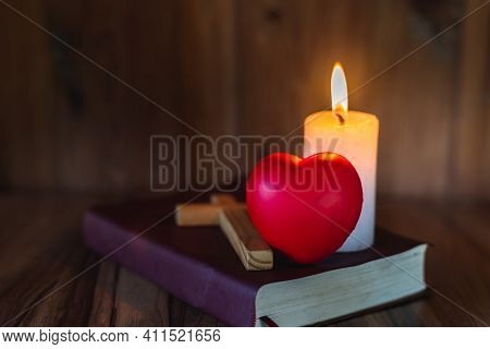 Heart Symbol And Candlelight Provides Light For Bible Study, Christian Religious Concepts, The Cruci