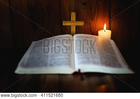 Candlelight Provides Light For Bible Study Christian Religious Concepts, The Crucifixion Of Faith An