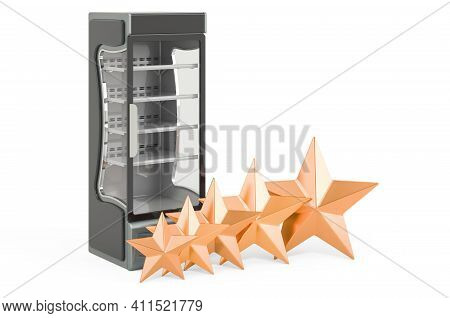 Customer Rating Of Display Case, Showcase. 3d Rendering Isolated On White Background
