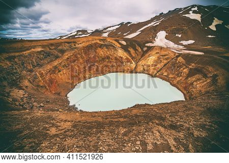 Viti Sulfur Lake In Caldera Of Askja Volcano Crater In Iceland, Travel North Landscape. Panoramic Vi