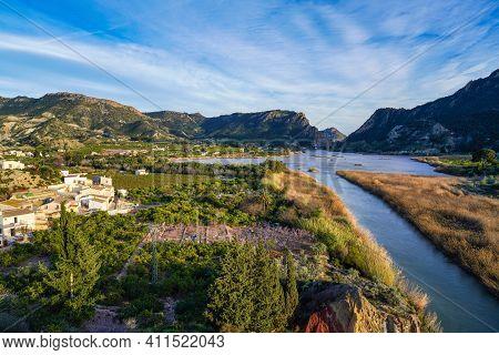 The Ojos Reservoir, Also Called Azud De Ojos In Blanco, Region Of Murcia. Spain. River Segura. Ricot