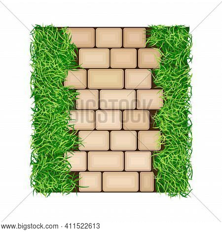 Concrete Paver Blocks Laid As Walkway Or Outdoor Pavement And Landscape Design Vector Illustration