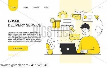 Young Male Character Ordering Email Delivery On Laptop. Concept Of Email Delivery Service. Present I