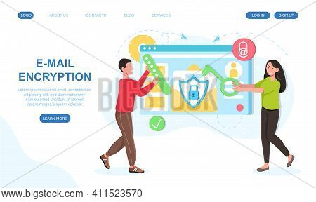 Male And Female Characters Are Encrypting Email With Lock. Concept Of Protecting Email Information O