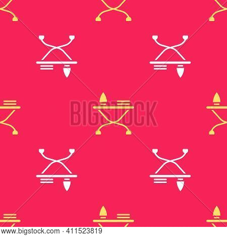 Yellow Electric Iron And Ironing Board Icon Isolated Seamless Pattern On Red Background. Steam Iron.