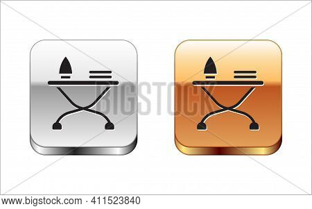 Black Electric Iron And Ironing Board Icon Isolated On White Background. Steam Iron. Silver-gold Squ