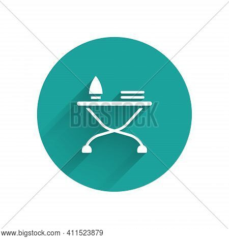 White Electric Iron And Ironing Board Icon Isolated With Long Shadow. Steam Iron. Green Circle Butto