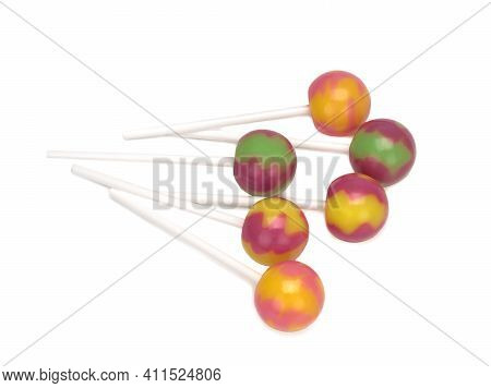 Lollipop, Colorful Lollipops Isolated On White Background