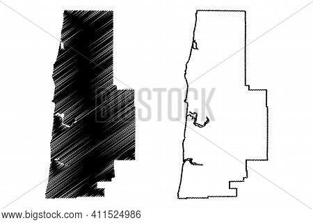 Lincoln County, Oregon State (u.s. County, United States Of America, Usa, U.s., Us) Map Vector Illus