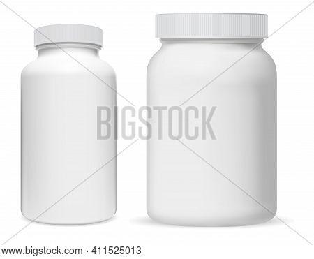 Pill Bottle. White Plastic Supplement Jar. Protein Bottle Mock Up, Vitamin Capsule Packaging, Large