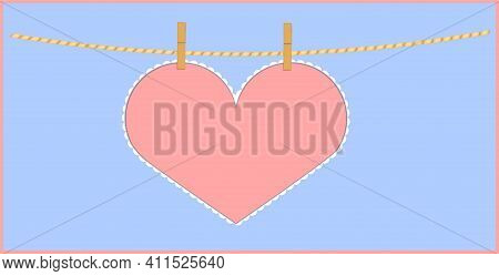 Heart Shape Pink Paper Note Hanging With Clothespin On String. Vector Illustration With Copy Space O
