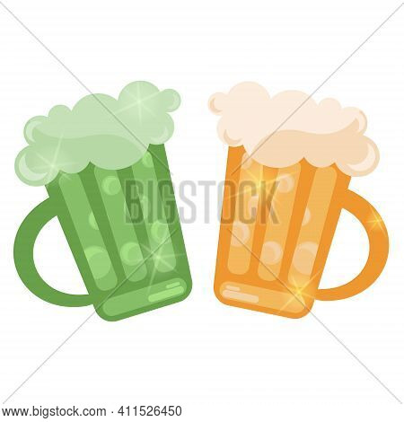 Pint Of Green Ale And Pint Of Beer Isolated On White Background Close-up. Beer Party Symbol For St.