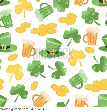 Seamless Pattern With Symbols Of The Holiday Of St. Patrick. Green Leprechaun Hat, Green Ale, Beer,