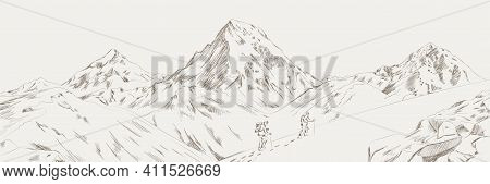 Mountain Range Climbers With Backpacks Walking Through Heavy Snow In Winter Season, Climbing And Mou