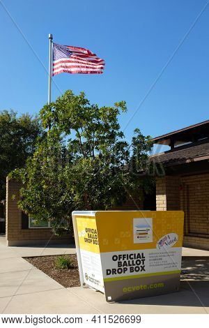 IRVINE, CALIFORNIA - 07 FEB 2020: An Official Ballot Drop Box, at Harvard Community Athletic Park, one of over 100 secure boxes where voters can return their mail in ballot, in Orange County.