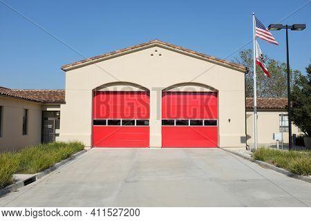 IRVINE, CALIFORNIA - FEBRUARY 24, 2019:  Orange County Fire Station 47 serves the city of Irvine.