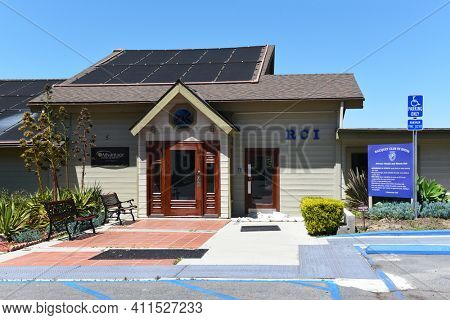IRVINE, CALIFORNIA - 16 APRIL 2020: Entrance at The Racquet Club of Irvine, RCI, is a Tennis Facility that also offers full fitness facilities and olympic pool.