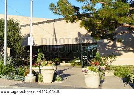 IRVINE, CALIFORNIA - 25 APRIL 2020: The Irvine Ranch Water District (IRWD) building, an independent special district serving Central Orange County.