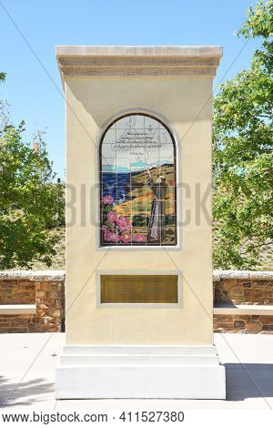 IRVINE, CA - MARCH 24, 2017: Father Crespi Historical Marker. The Jeffrey Open Space Trail is dotted with historical markers detailing the history of the area.