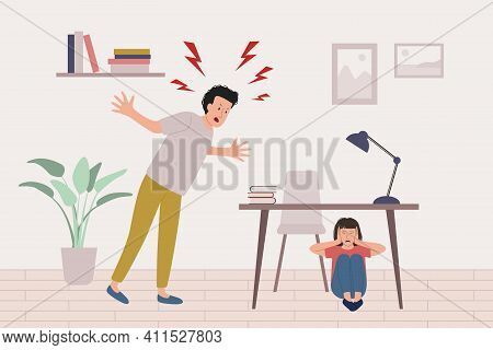 Child Abuse Concept. Angry Father Yells At Scared Girl Sitting Under The Table. Child Parent Relatio