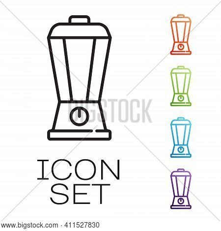 Black Line Blender Icon Isolated On White Background. Kitchen Electric Stationary Blender With Bowl.