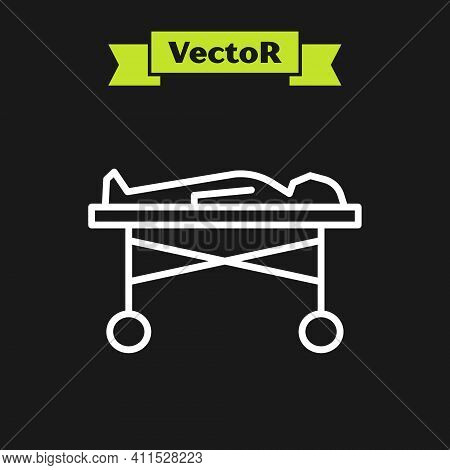White Line Dead Body In The Morgue Icon Isolated On Black Background. Vector