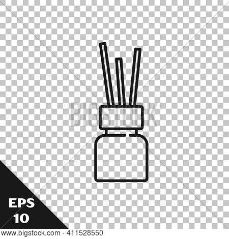 Black Line Aroma Diffuser Icon Isolated On Transparent Background. Glass Jar Different With Wooden A