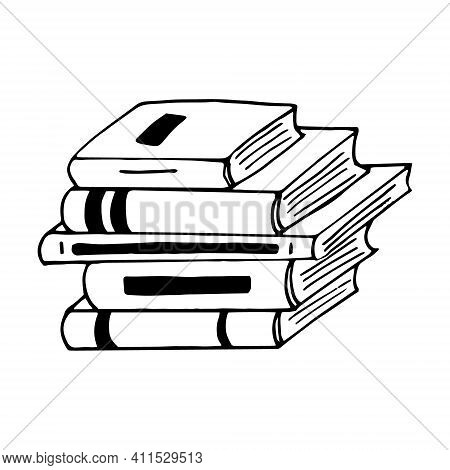 Books Stack Icon. Sketch Hand Drawn Doodle Style. Vector, Minimalism, Monochrome. Library Learning R