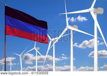 Donetsk Peoples Republic Alternative Energy, Wind Energy Industrial Concept With Windmills And Flag