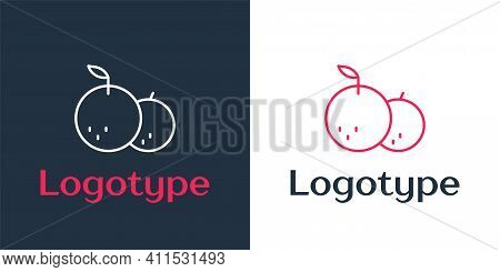 Logotype Line Tangerine Icon Isolated On White Background. Merry Christmas And Happy New Year. Logo