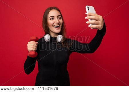 Attractive Charming Young Smiling Happy Woman Holding And Using Mobile Phone Taking Selfie Wearing S