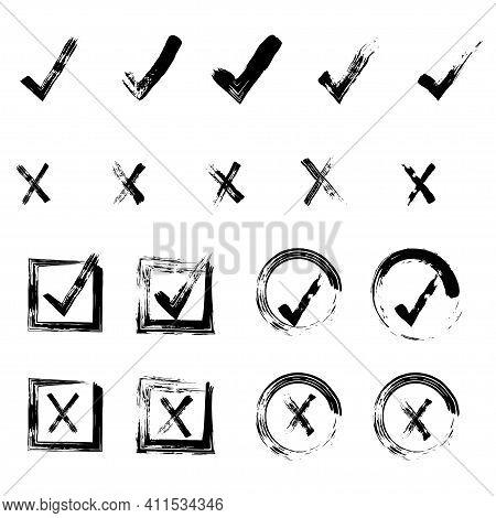 Check The Drawn Check Mark, The Check Mark And Cross Icons, The Check Mark Ok And X Icons, Yes And N