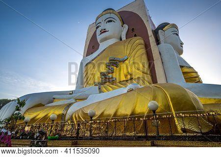 Bago, Myanmar - Dec. 01, 2019 :myanmar Four Faces Of Buddha At Kyaikpun Buddha In Bago, Myanmar