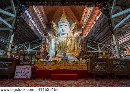 Yangon, Myanmar - Dec. 02, 2019 : Buddha In Gold, Royal Clothes,ngar Htat Gyee Pagoda,yangon, Myanma