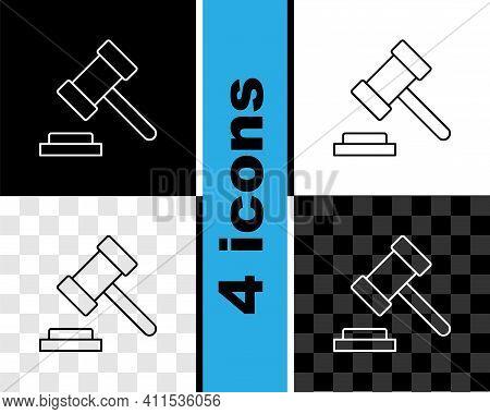Set Line Judge Gavel Icon Isolated On Black And White, Transparent Background. Gavel For Adjudicatio
